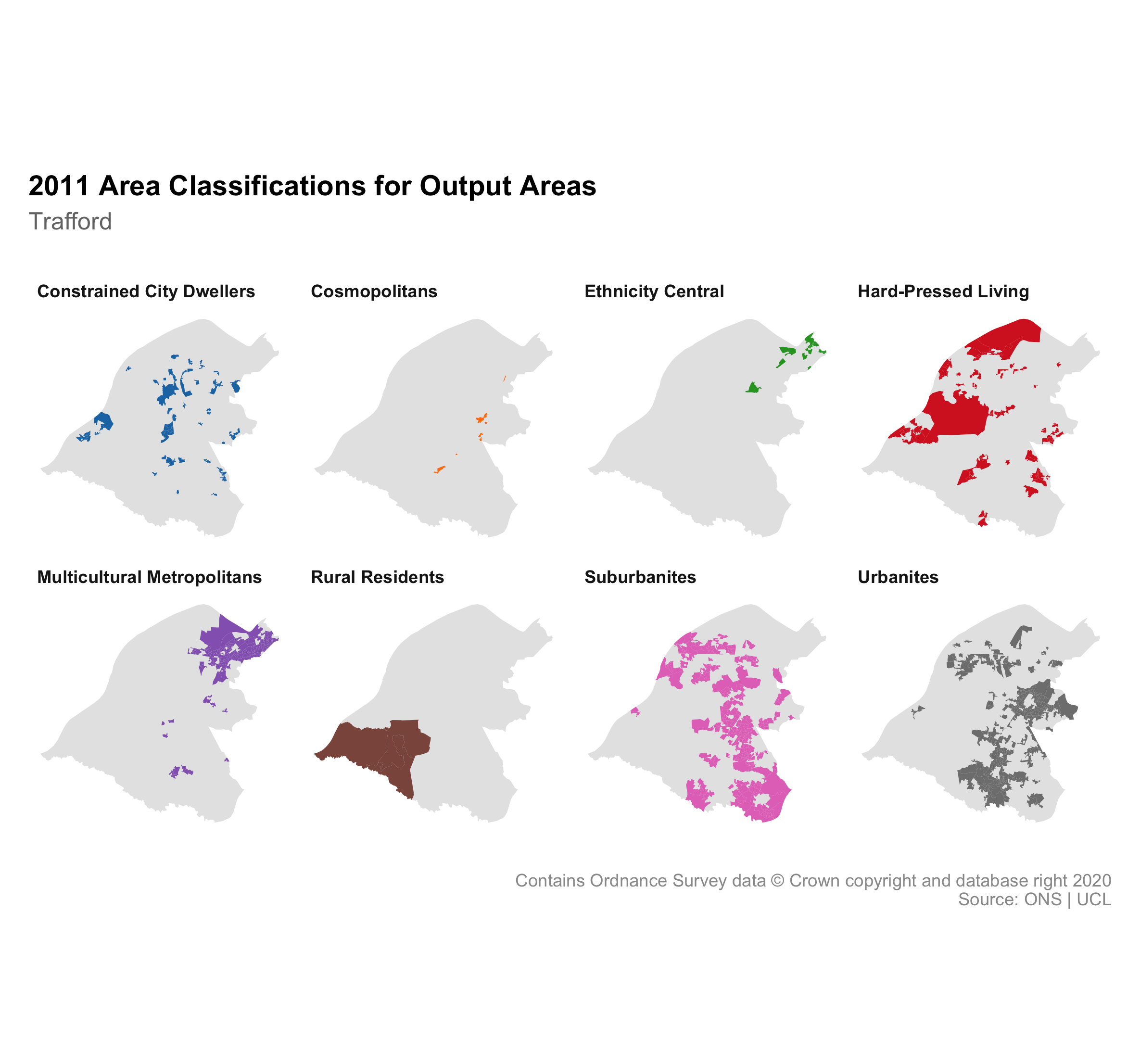 8 small maps of Trafford showing the different 2011 Output Area Classifications within.
