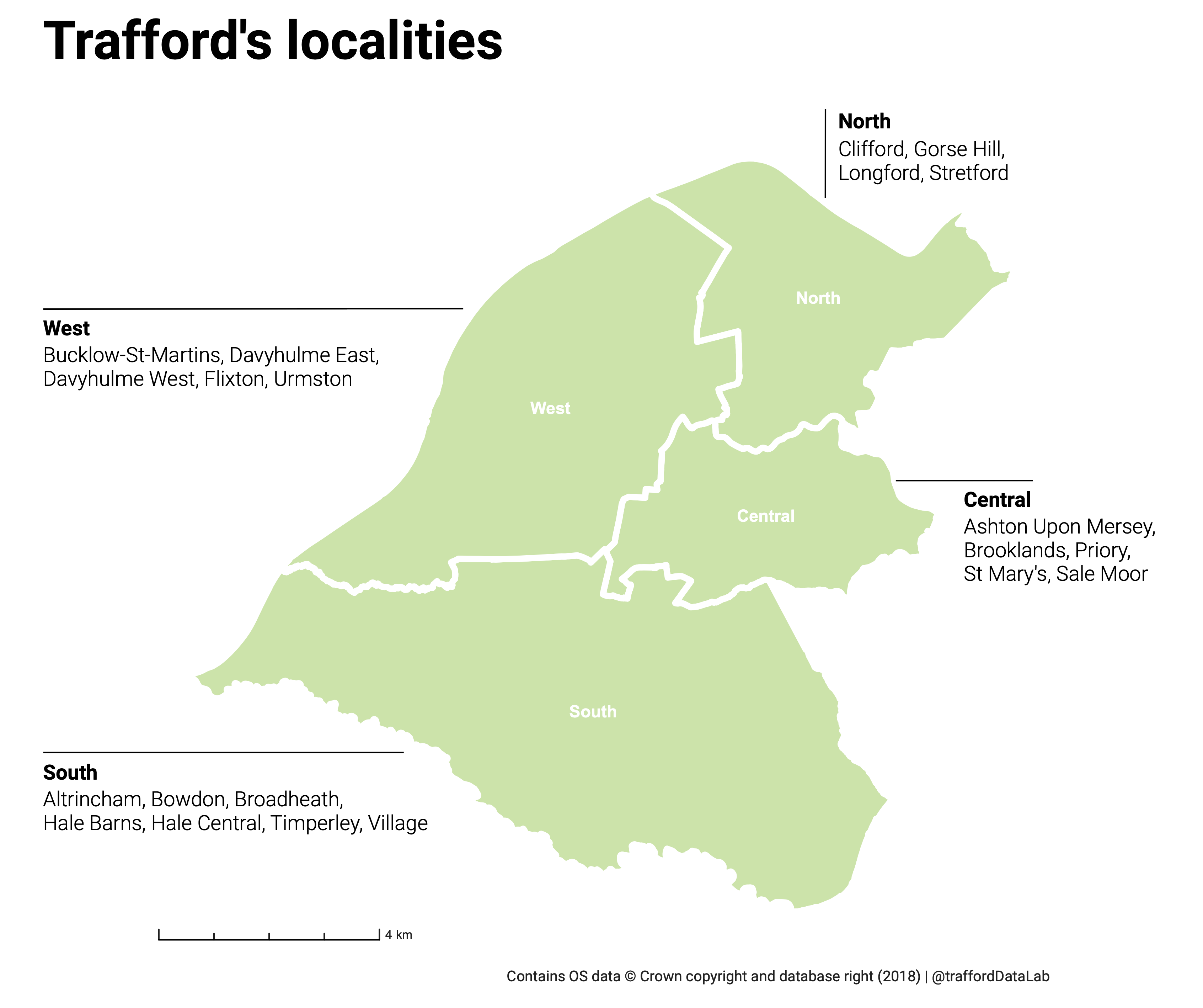 Map of Trafford showing the localities and the names of the wards in each.