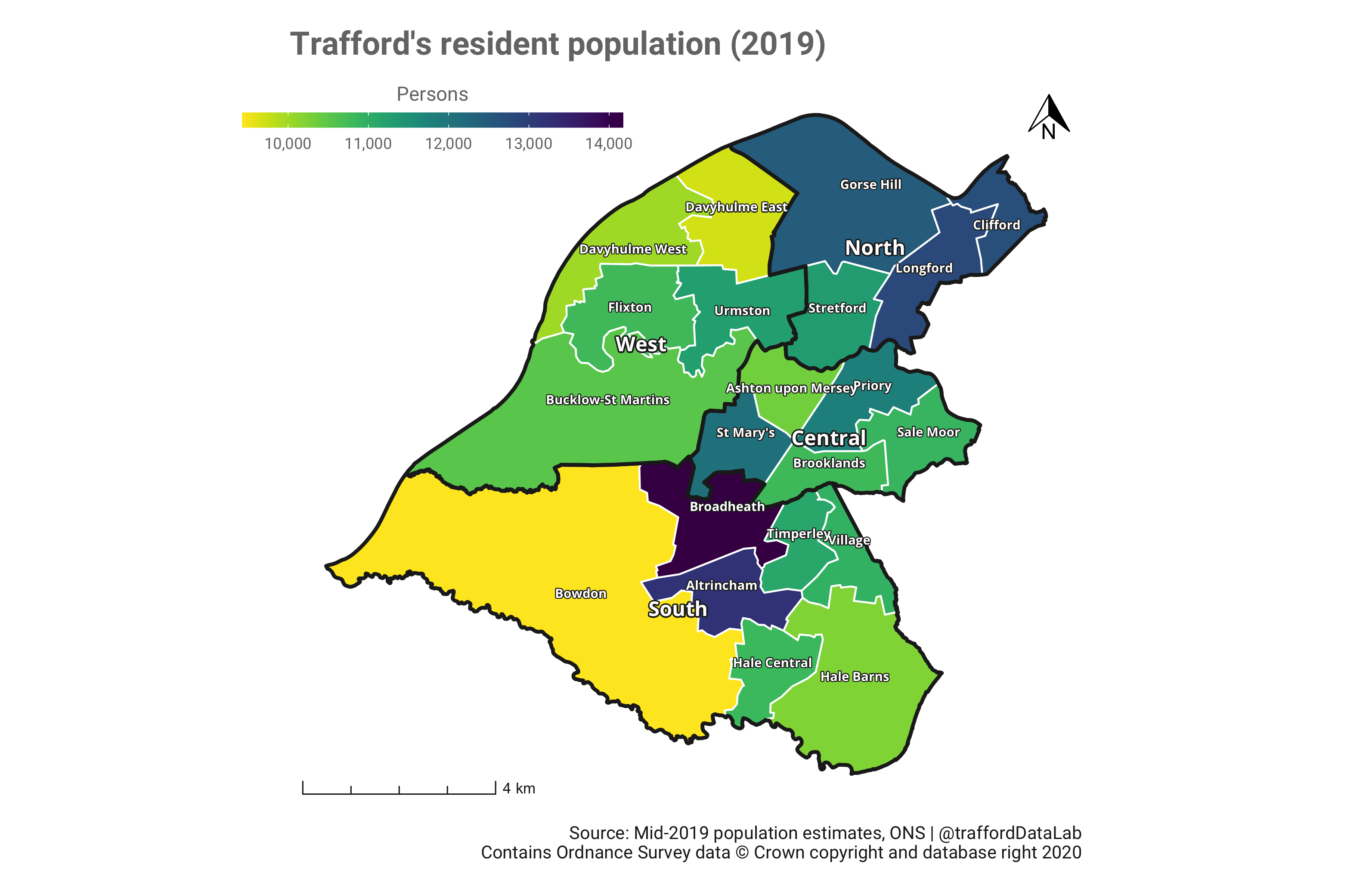 Map of Trafford showing the 21 wards coloured according to their mid-2019 population estimates.