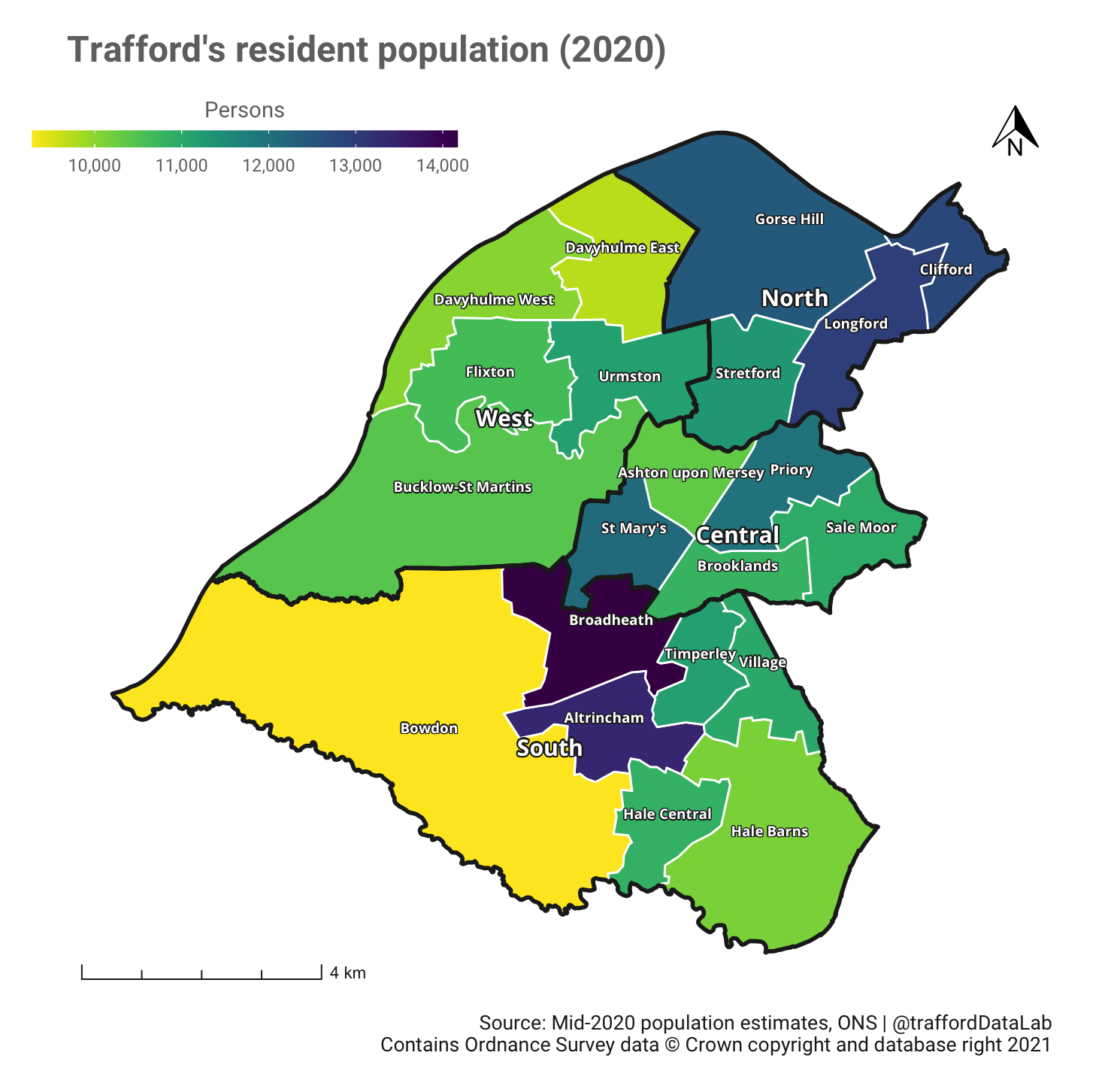 Map of Trafford showing the 21 wards coloured according to their mid-2020 population estimates.